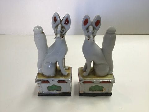 Pair of KTSUNE (F0XES), Japanese, Porcelain. KD1802