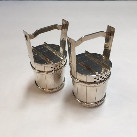 Sterling Silver Salt & Pepper Shakers in the Shape of Buckets, Circa 1960