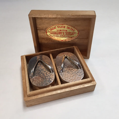 Sterling Silver Salt & Pepper Shakers in the Shape of Sandals, Circa 1960