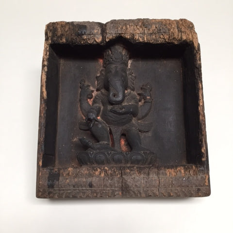 CAC1070 Square Wood Ganesha