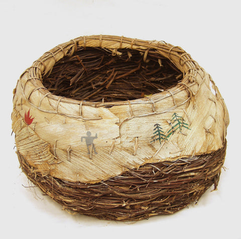 Native American Twig and bark basket, Round, contemporary
