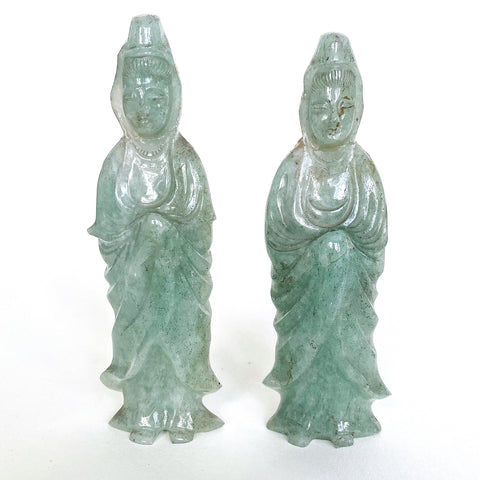 Pair of Jade image of the Goddess Quanyin, Chinese, 20th century