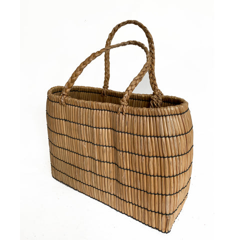 Vintage Country straw basKet, Japanese, c. 1950-60