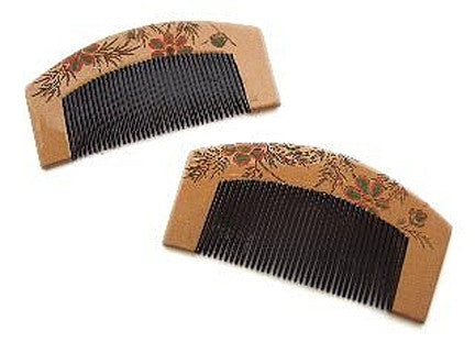 Antique Japanese Lacquer Kushi (Combs) - Pair