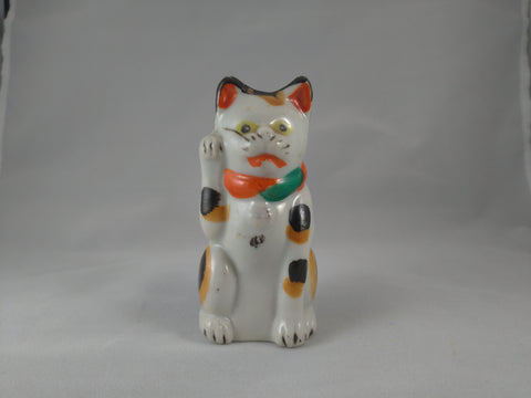 Maneki-Neko, Japanese Good Fortune Cat , ceramic, , Meiji