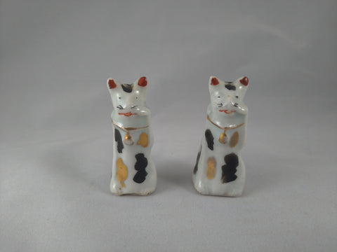 Maneki-Neko, Japanese Good Fortune Cat, ceramic, Meiji