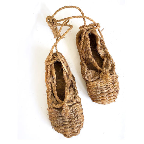 Pair of Vintage Straw shoes, Japanese, Mingei, c.1950