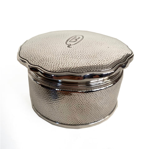 Hammered Sterling Silver Powder Box ,part of vanity set, Marked Asahi 938,Japanese