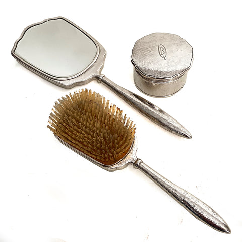Hammered Sterling Silver Brush ,part of vanity set Marked Asahi 938, Japanese