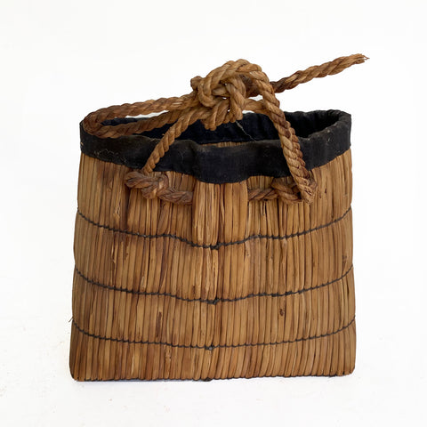 Vintage Country straw basket, Japanese, c.1950-60