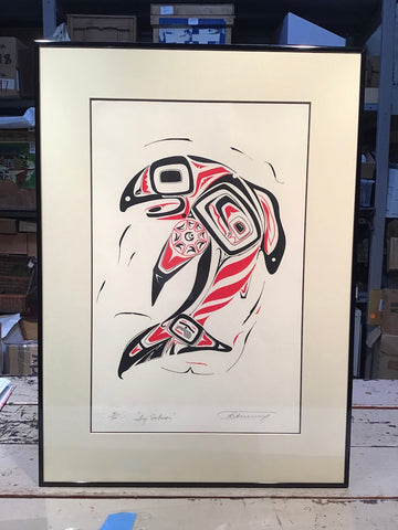 "Framed Northwest Serigraph Print, ""Dog Salmon"", Petrovich Edition"