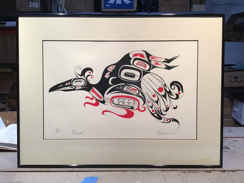 "Framed Northwest Serigraph Print, ""Raven"", Petrovich Edition"