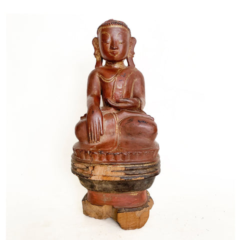 Burmese Buddha , Sitting on pedestal, polychrome wood, early 20th century