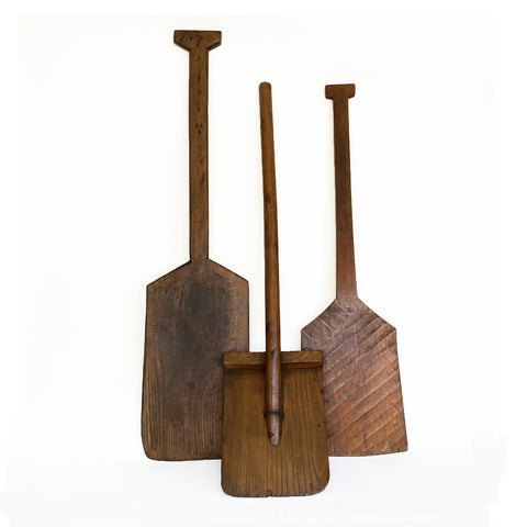 Antique wood snow shovels, Japanese, Set of 3