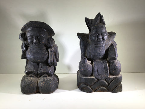 Daikoku and Ebisu Wood Sculptures, Japan, Late Meiji Period