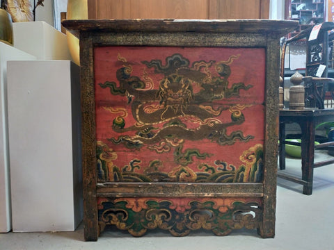 Tibetan altar, Painted wood, Dragon symbols, Late 18th-early 19th century