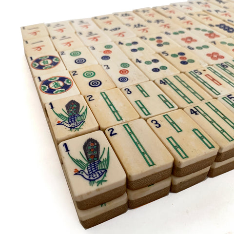 Mahjong set, Bamboo and bone tiles in a wooden box,c 1920