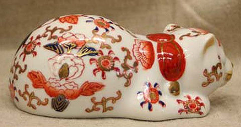 Vintage Japanese Kutani Porcelain Sleeping Cat, Circa 1960