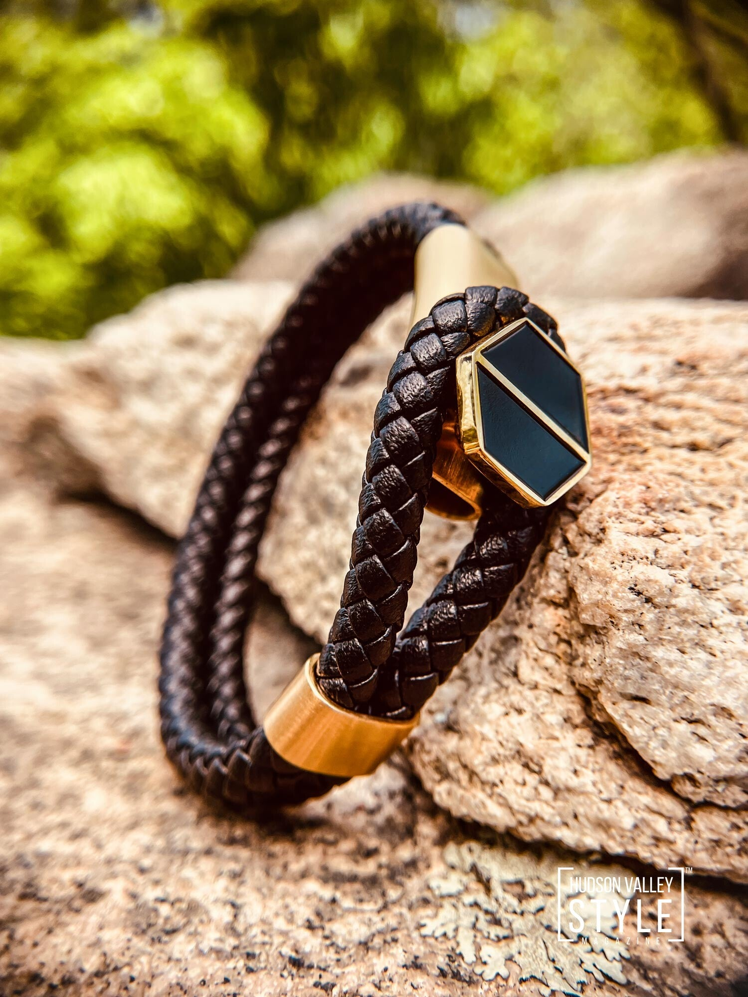 Black Leather and Gold Lasso Bracelet by HARD NEW YORK. This modern design features a woven black leather strap with brushed gold hexagon button closure. It will easily complement any casual or dressy styling. It is available at hardnewyork.com for $47 and free shipping.
