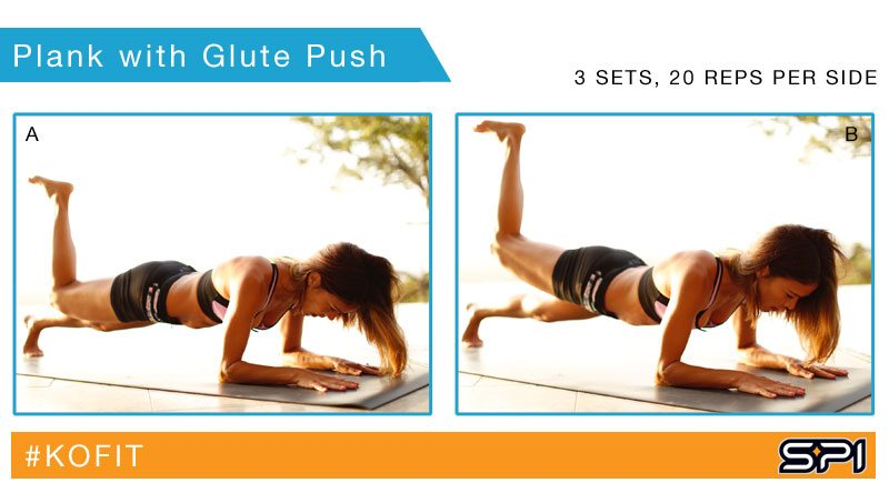 KOfit killer abs and butt workout - Plank with Glute Push