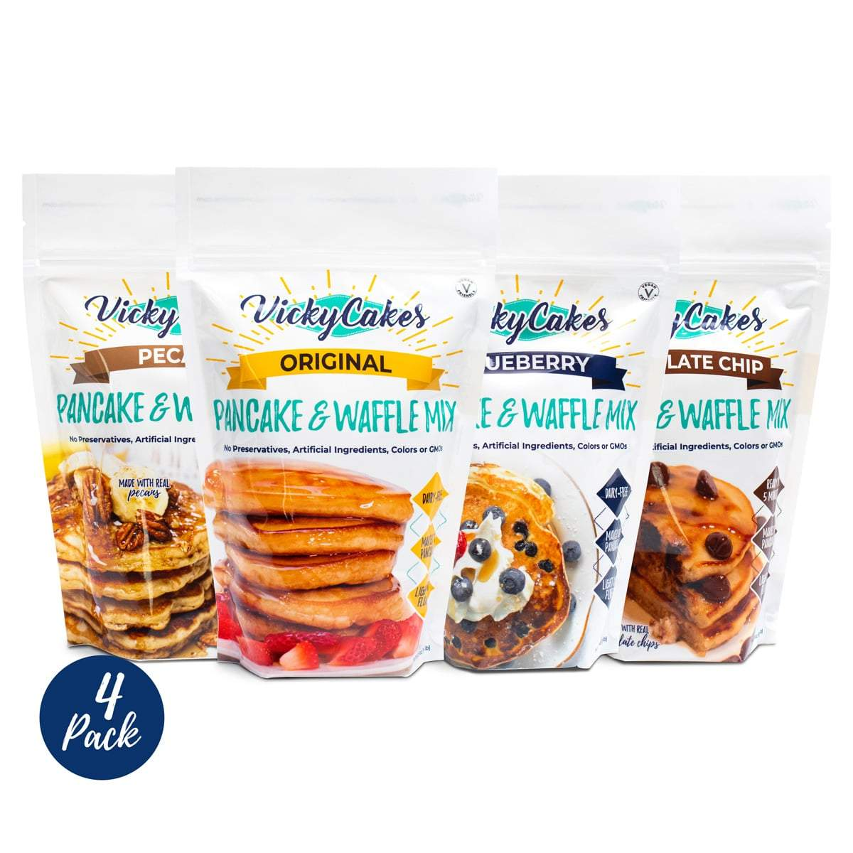 Vicky Cakes Pancake Mix Bundle (Pack of 4) - Original, Blueberry, Pecan, Chocolate Chip