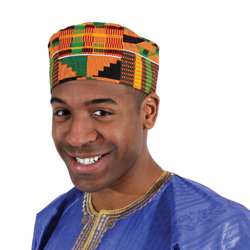 African Traditional Kente Kufi Hat Style #2: for Men and Women