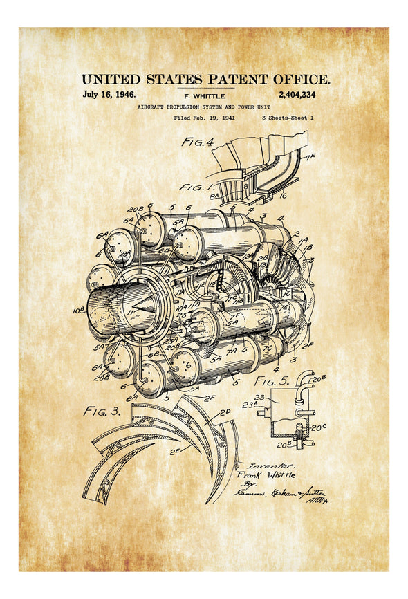 Aircraft Propulsion Patent - Vintage Airplane, Airplane Blueprint, Airplane Art, Pilot Gift, Aircraft Decor, Airplane Poster, Engine Patent Art Prints mypatentprints