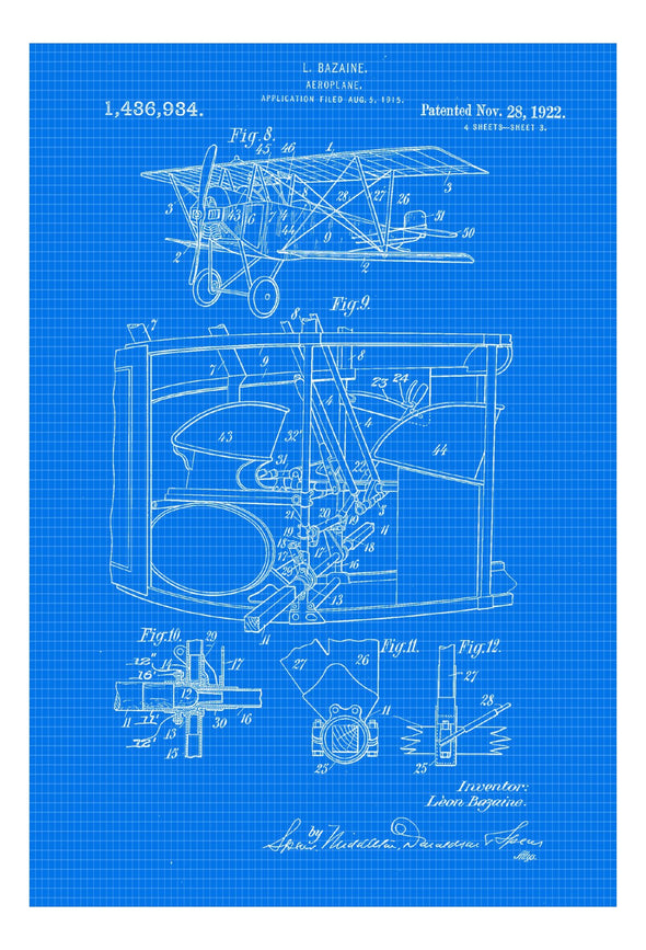 Airplane Patent 1922 - Vintage Airplane, Airplane Blueprint, Airplane Art, Pilot Gift,  Aircraft Decor, Airplane Poster, Biplane Patent