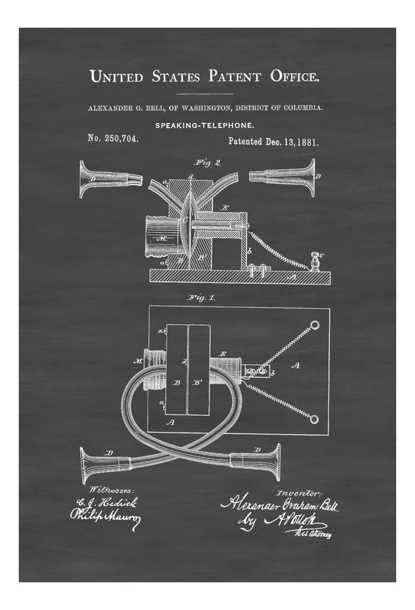Alexander Bell Telephone Patent - Decor, Office Decor, Patent Print, Phone Patent, Telephone Patent, Vintage Telephone, Telephone Blueprint