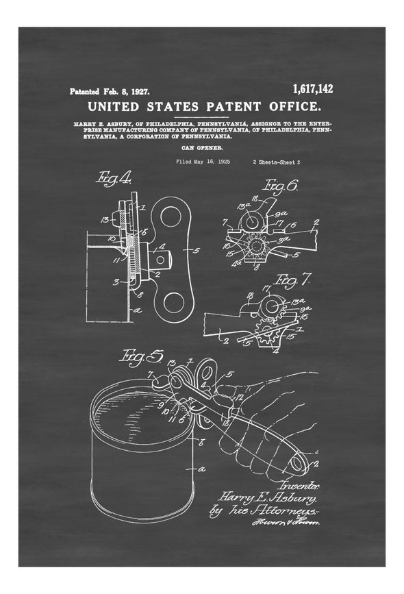 Can Opener Patent Print - Decor, Kitchen Decor, Restaurant Decor, Patent Print, Wall Decor, Can Opener Drawing