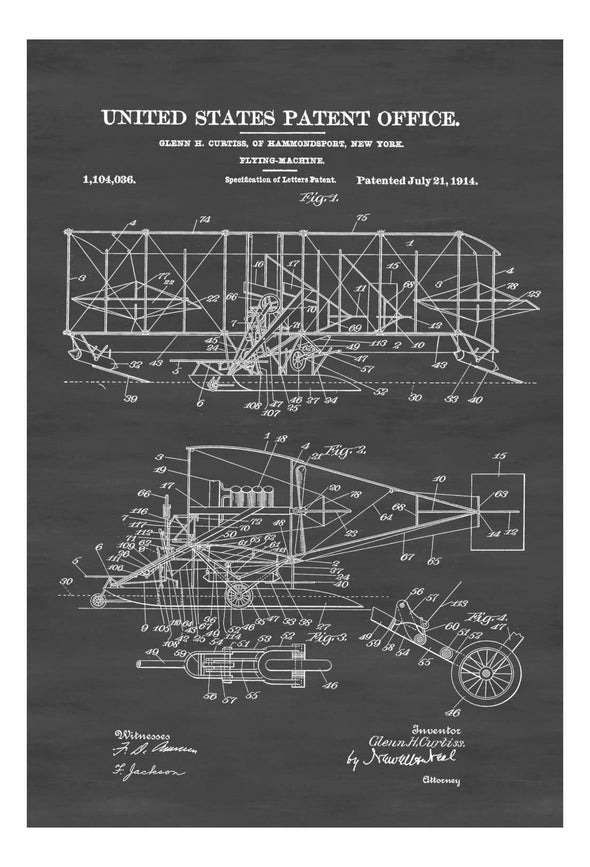Curtiss Flying Machine Patent Print - Airplane Blueprint, Vintage Aviation Art, Airplane Art, Pilot Gift,  Aircraft Decor, Airplane Poster