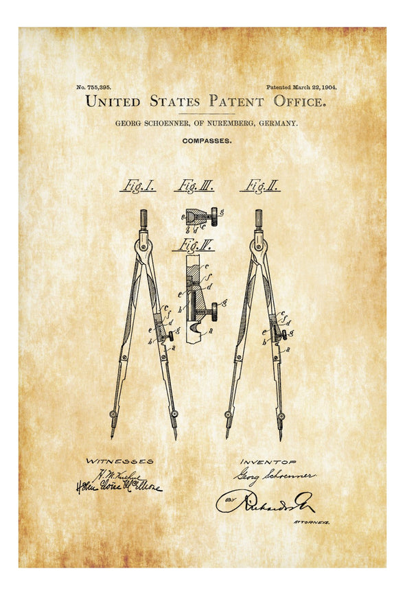 Drawing Compass Patent - Patent Print, Wall Decor, Office Decor, Architect Gift, Drawing Tool,