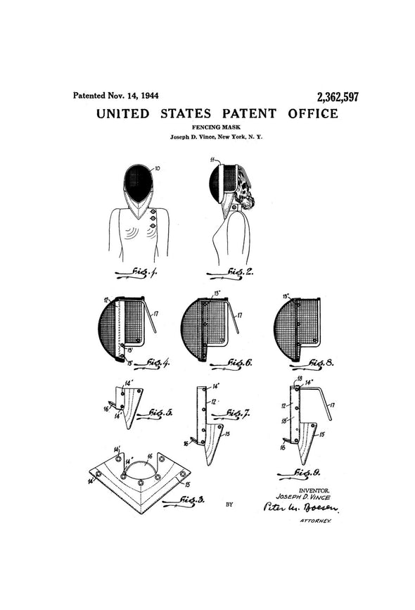 Fencing Mask Patent - Patent Print, Wall Decor, Fencing Art, Fencing Patent, Fencing Gift, Fencing Mask