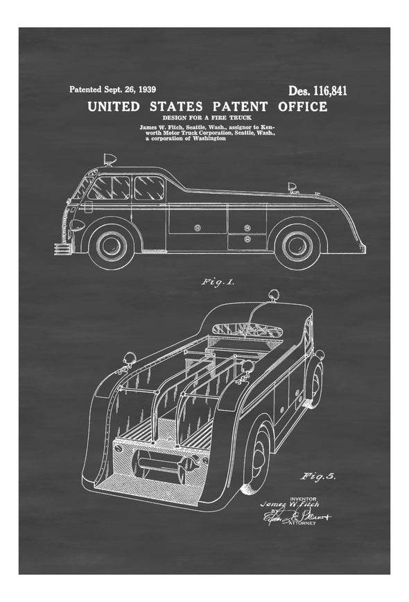 Fire Truck Patent 1939 - Patent Prints, Wall Decor, Fireman Gift, Firehouse Decor, Firefighter, Fireman, Fire Engine