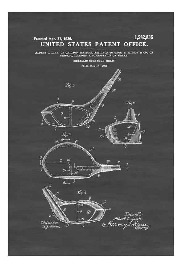 Golf Club Head Patent - Patent Print, Wall Decor, Golf Art, Golfer Gift, Golfing Print, Golf Players, Vintage Golf, Golf Poster, Golf Decor