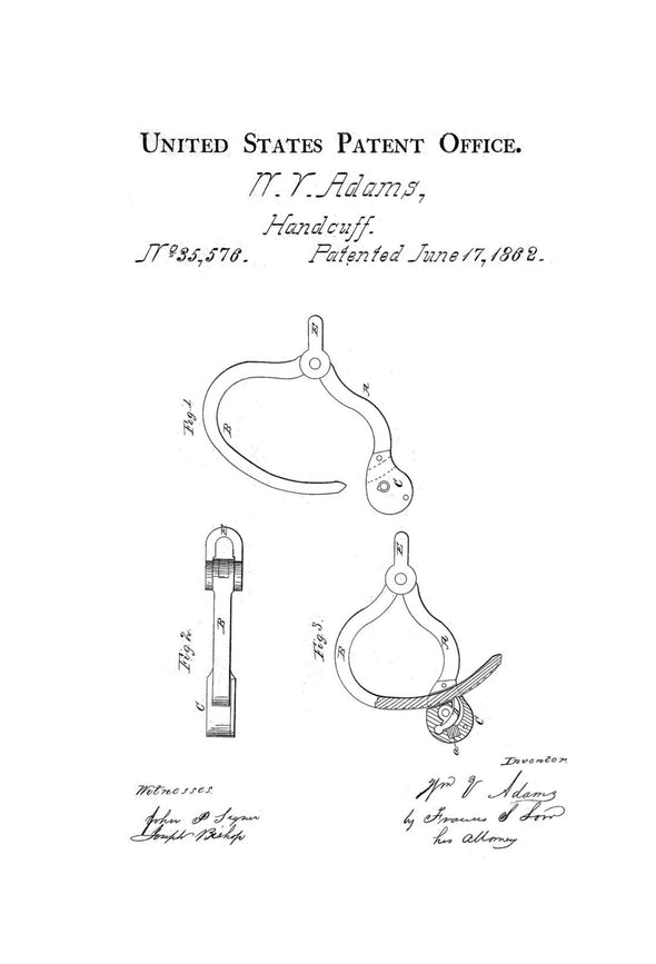 Handcuffs Patent - Patent Print, Wall Decor, Restraint Patent, Law Enforcement Gift, Police Officer Gift, Hnadcuff Patent