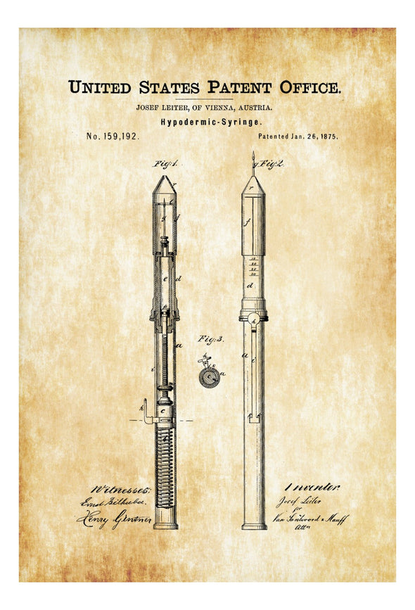 Hypodermic Syringe Patent - Decor, Doctor Office Decor, Nurse Gift, Medical Art, Medical Decor, Patent Print, Surgeon Gift, Doctor Gift