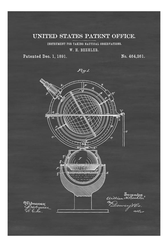 Nautical Compass Patent- Vintage Nautical, GyroCompass, Sailing Decor, Nautical Decor, Beach House Decor, Astronomy Compass, Solarometer Art Prints mypatentprints