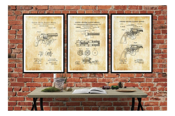 Smith & Wesson Revolver Patent Collection of 3 Prints - Patent Prints, Firearm Art, Revolver Poster, Gun Enthusiast, Antique Gun, Gun Patent Art Prints mypatentprints 10X15 Parchment