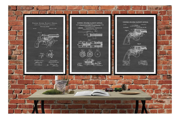 Smith & Wesson Revolver Patent Collection of 3 Prints - Patent Prints, Firearm Art, Revolver Poster, Gun Enthusiast, Antique Gun, Gun Patent Art Prints mypatentprints