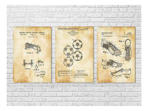 Soccer Patent Collection of 3 - Patent Prints, Wall Decor, Soccer Art, Sports Art, Soccer Fan Gift, Soccer Ball, Soccer Shoes, Soccer Goal