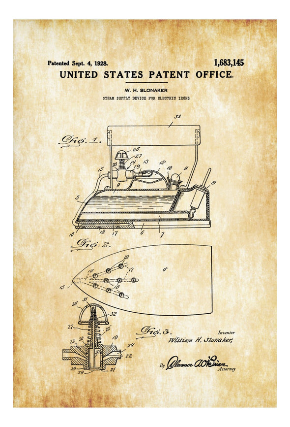 Steam Iron Patent - Laundry Room Decor, Vintage Iron, Steam Iron Blueprint, Electric Iron Patent, Ironing, Fashion Decor