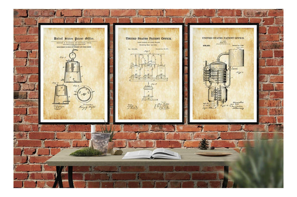 Still Distilling & Brewing 3 Patent Print Collection - Bar Decor, Whiskey Still, Whiskey Making, Moonshine Still, Beer Making Still, Brewing Art Prints mypatentprints 10X15 Parchment