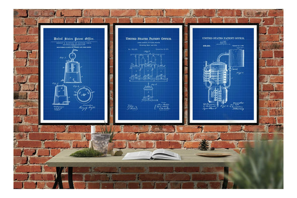 Still Distilling & Brewing 3 Patent Print Collection - Bar Decor, Whiskey Still, Whiskey Making, Moonshine Still, Beer Making Still, Brewing Art Prints mypatentprints