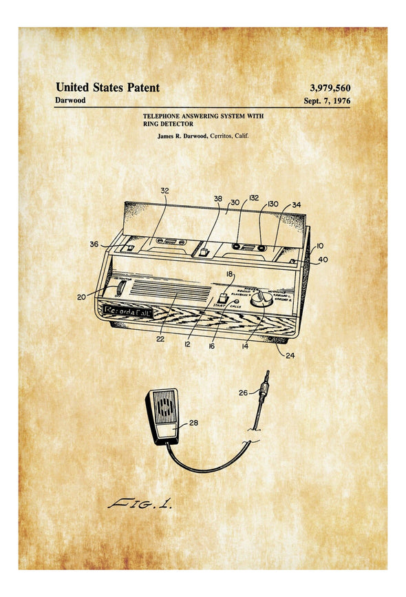 Telephone Answering Machine Patent - Decor, Office Decor, Patent Print, Phone Patent, Telephone Patent, Telephone Blueprint, Telephone Print Art Prints mypatentprints