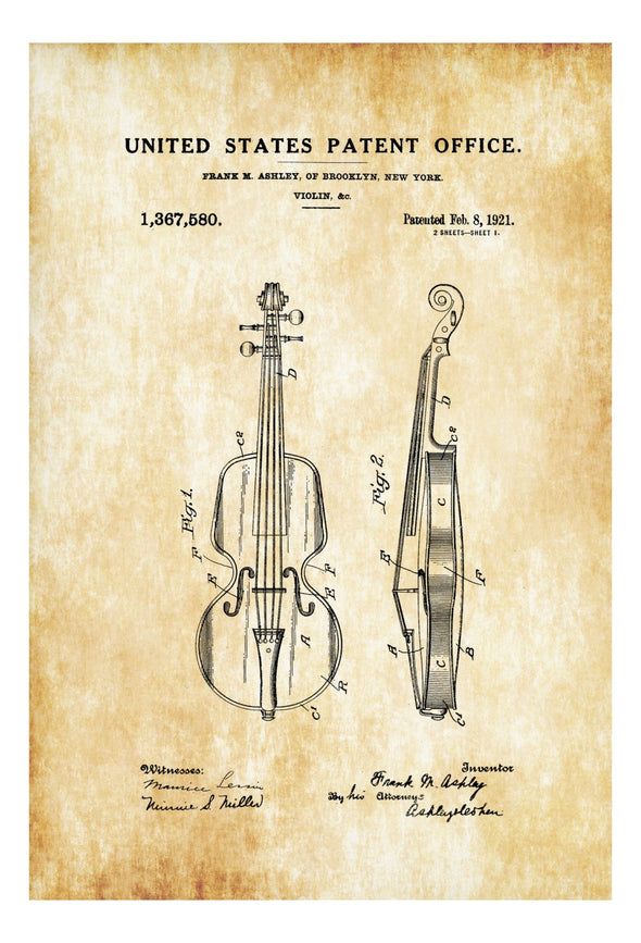 Violin Patent - Patent Print, Wall Decor, Music Poster, Music Art, Musical Instrument Patent, Guitar Patent, Music Patent