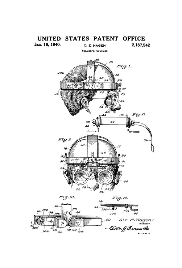 Welder's Goggles Patent - Patent Print, Wall Decor, Welder Gift, Garage Decor, Workshop Decor, Welder, Mask Patent, Goggles