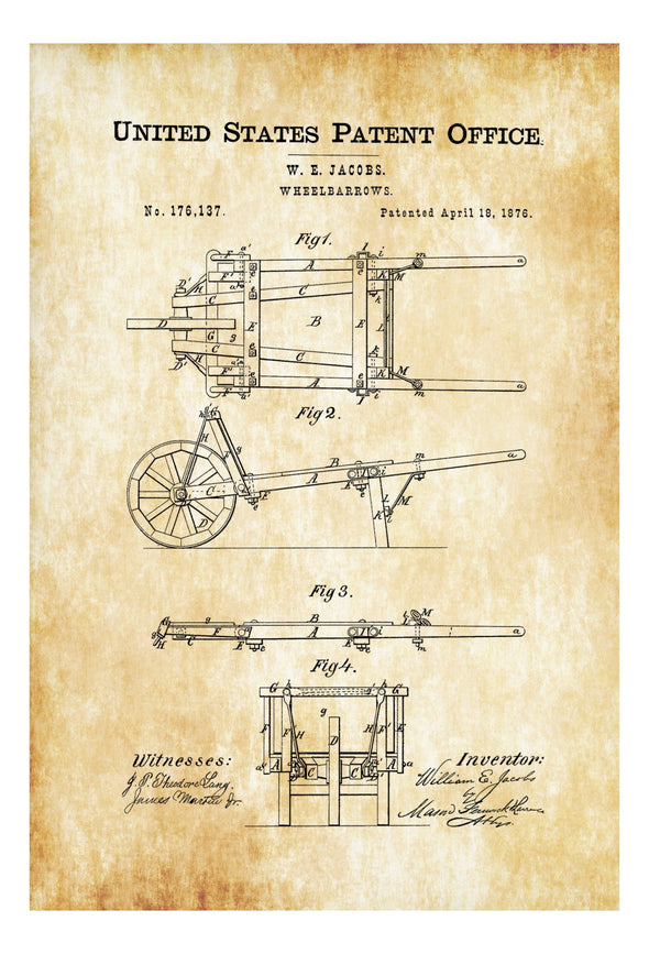 Wheelbarrows Patent Print - Decor, Home Decor, Patent Print, Wheelbarrows Patent,  Wheelbarrows Blueprint, Garden Decor
