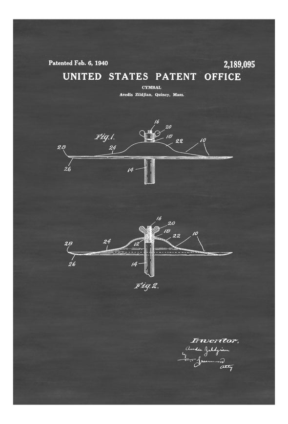 Zildjian Cymbal Patent - Patent Print, Wall Decor, Music Poster, Musical Instrument Patent, Drum Patent, Drummers, Percussion, Music Art