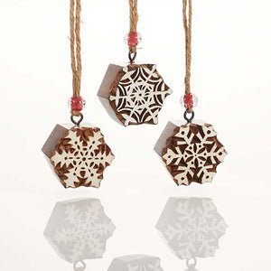Woodblock Snowflake Ornaments
